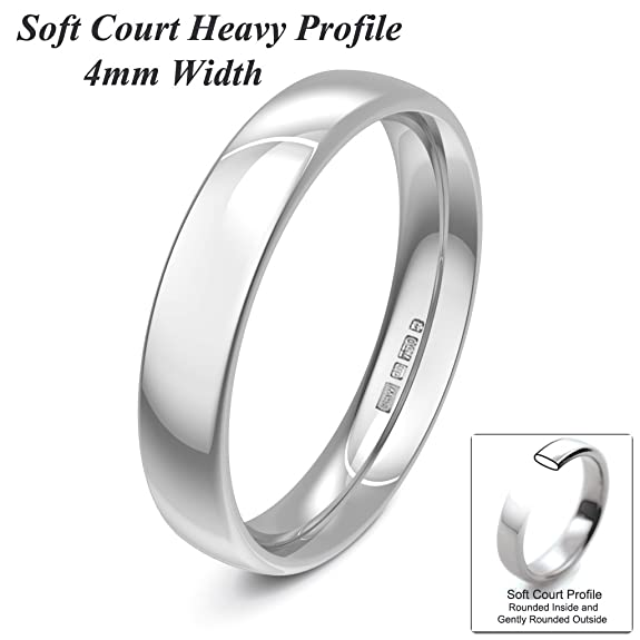 Xzara Jewellery - 9ct White 4mm Heavy Court Profile Hallmarked Ladies Gents 4.4 Grams Wedding Ring Band