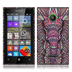 Nextkin Microsoft Nokia Lumia 435 Flexible Slim Silicone TPU Skin Gel Soft Protector Cover Case - Elephant Head Aztec