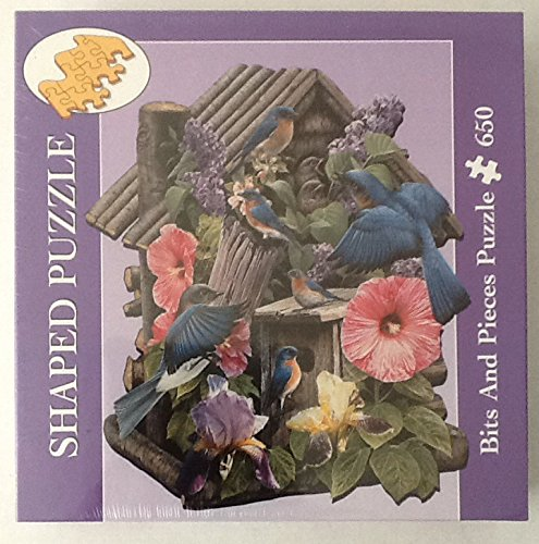 650 Piece Shaped Puzzle Bits and Pieces Russell Cobane 'House of Blue' Birds