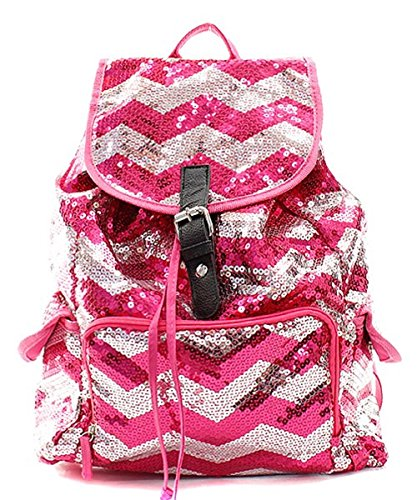 Sequin Chevron Stripe Backpack Handbag (HOT PINK)