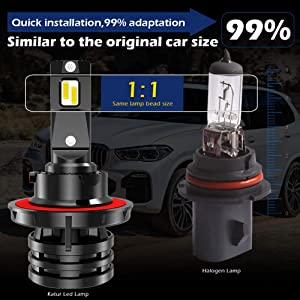 KATUR 9006 HB4 Led Headlight Bulbs Mini Design Upgraded CREE Chips Extremely Bright 12000 Lumens Waterproof All-in-One LED Headlight Conversion Kit 55W 6500K Xenon White-2 Years Waranty