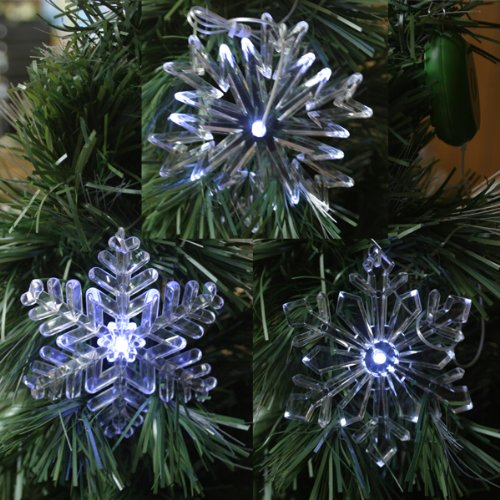 "Set Of 3 Glowing 4"" Led Indoor-Only Snowflake Tree Ornaments With Suction Cup, Timer And Batteries Included"