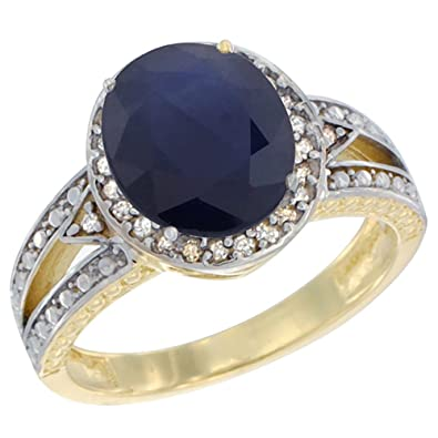 14ct Yellow Gold Natural Blue Sapphire Ring Oval 9x7 mm Diamond Halo, sizes J - T