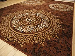 Contemporary Large Brown Rugs 8x11 Brown Carpet Rugs for Living Room Area Rugs 8x10 Clearance Under 100 (Large 8\'x11\' Rug)