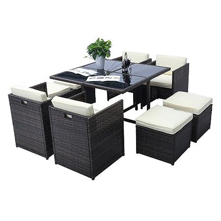 SAILUN® Gartengarnitur Poly Rattan Sofa Garnitur Gartenmöbel Sitzgruppe Essgruppe inkl. Glas und Sitzkissen (B Type)