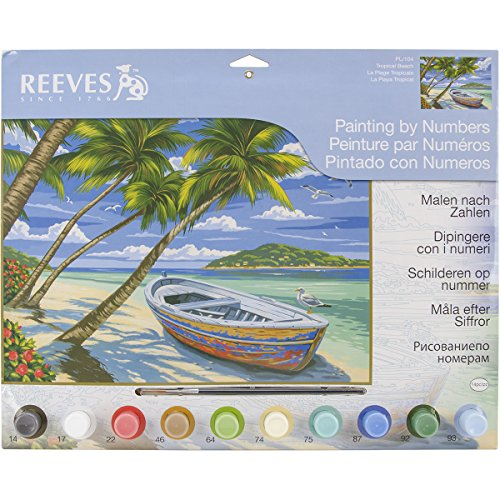 Reeves Tropical Beach Acrylic Painting by Numbers Set, Large - 1