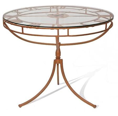 Table à manger en métal coloris cuivre - Dim : 100 x 100 x 76 cm -PEGANE-