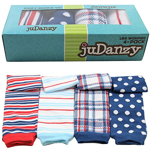 JuDanzy 4-pack baby & toddler leg warmers gift set for boys & girls (Newborn (up to 12 pounds), Nautical 4-Pack)