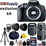 Canon EOS Rebel T5i 18.0 MP CMOS Full HD Video Digital Camera with Canon EF-S 18-55mm f/3.5-5.6 IS [Image Stabilizer] II Zoom Lens & EF 75-300mm f/4-5.6 III Telephoto Zoom Lens + Tele & Wide Angle Lenses for 58mm + Photo & Video High Quality Tripod + 58 MM 3 piece Filter Kit + External Flash + High Quality SLR Case + 32GB Memory + Hi Speed SD USB Card Reader + CD Supply Deluxe Accessory Bundle