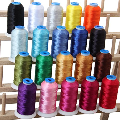20 Cone Set Polyester Embroidery Thread 1000m Spools - Essential Colors (11 Different sets available) (Machine Embroidery Thread 1000m compare prices)