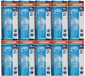 10 Stück Osram Halostar 64415 Halogen-Stiftsockellampe G4 12Volt 10Watt from Osram