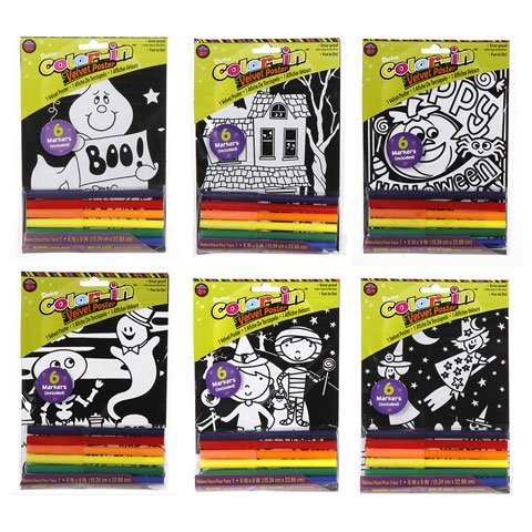 "Set of 4 HALLOWEEN Velvet Color-In Mini POSTERS w/Markers - 6"" x 9"" PARTY ACTIVITY Fun KID'S Craft Coloring - 1"
