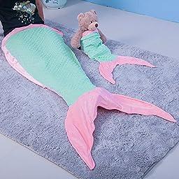 Be-Moming Flannel Mermaid Tail Blanket for Kids Girls Pink Little Mermaid Sleeping Bag Set (Kids Mermaid Tail)