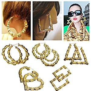 1 Pair Grand Boucles D'oreilles Bambou Dore Clou Exagere Bijoux Femme Hip-hop Earrings #004
