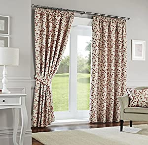 Madera Terracotta Embroidered 66x72 Lined Pencil Pleat Curtains #tsruhkao *cur* by Curtains