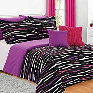 Black White Pink Purple Zebra Striped 7 Piece Full Queen Comforter Set Pillows