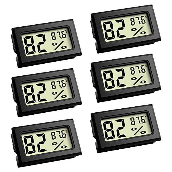 Mini Thermometer, Digital Refrigerator Freezer Thermometer with LCD Display - 6 Pack Fahrenheit (?) Thermometer Hygrometer for Humidors, Greenhouse, Garden, Cellar, Fridge, Closet (Color: 6 Pack)