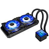 upHere Technology All-in-One High Performance Water Liquid CPU Cooler with Dual Adjustable 240mm PWM Fan,Blue LED (AM4 Compatible) CC2402 (Color: CC2402 Blue LED, Tamaño: 240mm)