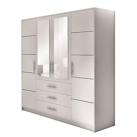 Drehturenschrank Bali 4D, Kleiderschrank mit Spiegel, Schubladen und Spiegelturen, Elegantes Schlafzimmer schrank, Jugendzimmer (Weiß)
