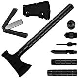 Camping Axe Multi-tool Kit Survival Emergency Gear Portable Folding Collapsible Camp Ax Hatchet Tomahawk Tactical Hand Tool with Sheath Hammer for Hik