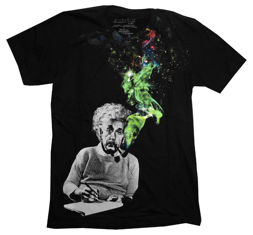 Albert Einstein Smoking Colors Men's Black T-Shirt
