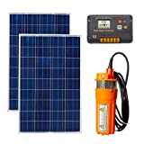 ECO-WORTHY High Power 2pc 100W Solar Panel + 24V Deep Well Submersible Water Pump & 15A Charge Controller (Color: Orange Pump Kit w/ Controller)