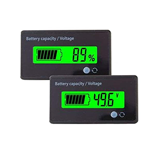Multifunctional 48V LCD Battery Capacity Monitor Gauge Meter for Lead-Acid Battery Motorcycle Golf Cart Car, Alarm Function (Color: Alarm function-Green)