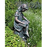 Small Bronze Garden Statues - Reading Girl Figurine Sculpture