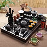 Ufingo-Wood Tea Tray Ceramic Kung Fu Tea Set Tea Service-White And Black