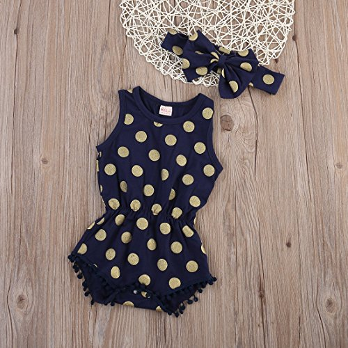 Baby Girl Clothes Gold Dots Bodysuit Romper Jumpsuit One-pieces Outfits Set (0-6 Months, Navy Blue)