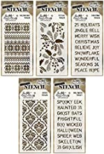 Tim Holtz - 2014 Fall amp Winter - Stencils - Halloween Gothic Festive Holiday Knit amp Christmas -