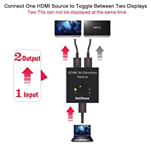 DotStone HDMI Switch Bi-Direction 4K HDMI Splitter 2 x 1/1 x 2 No External Power Required 2 Ports HDMI Switcher Supports Ultra HD 4K 3D 1080P for PS4 Xbox Fire Stick Roku (Color: Black)