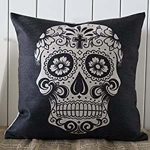 Linkwell 45x45cm Black Skull Halloween All Hallows' Eve Gift Present Linen Cushion Covers Pillow Cases Trick-or-treating with Gift Card by Linkwell Home Decor