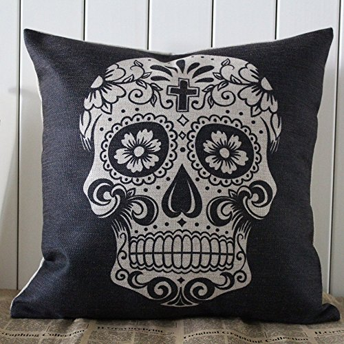 Linkwell 45x45cm Black Skull Halloween All Hallows' Eve Gift Present Linen Cushion Covers Pillow Cases Trick-or-treating with Gift Card