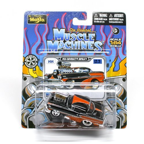 1958 Chevrolet Impala (Black & Orange) * The Original Muscle Machines * Series 12 Maisto 1:64 Scale Die-Cast Vehicle Collection