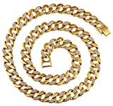 AlwaysBling Hip Hop Cristaux Fashion plaqué or entiers Collier épais 128g