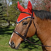 Intrepid International All Crochet Fly Veil with Ears, Red/White/Navy, Horse Size