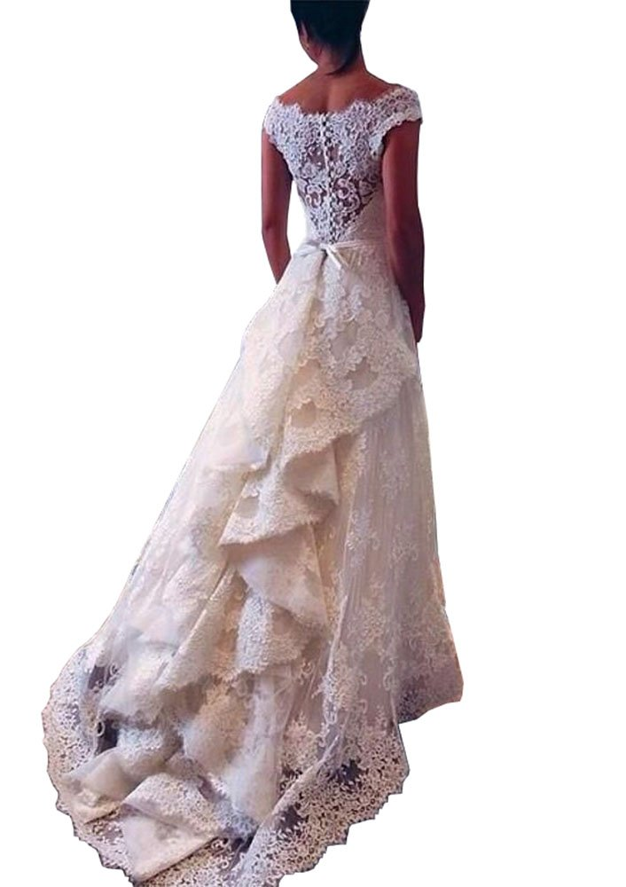 Lovelybride 2016 A Line Vintage Lace Wedding Dress Layers Skirt Bridal Gowns 0