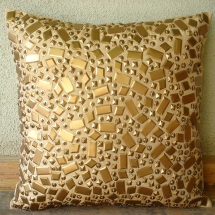 Melodrama - 16X16 Inches Square Decorative Throw Gold Silk Pillow Covers Embroidered With Textured Sequins front-944214