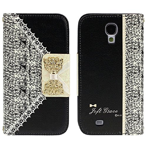 Black Fashion Girl Woman Fresh Sweet Cute Flip Wallet Leather Case Cover For Samsung Galaxy S4 I9500