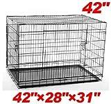 "Pawhut 42"" 2-door Folding Wire Pet Dog Crate - 42""l x 28""w x 31""h"