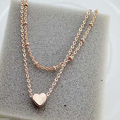 Amazing Elegant Double Chain Heart Bead Anklet Beach Foot Jewelry