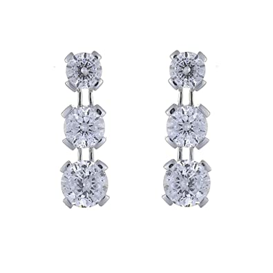 Ivy Gems 9ct White Gold 1.5ct Finest 100 Cut Cubic Zirconia Triple Drop Earrings