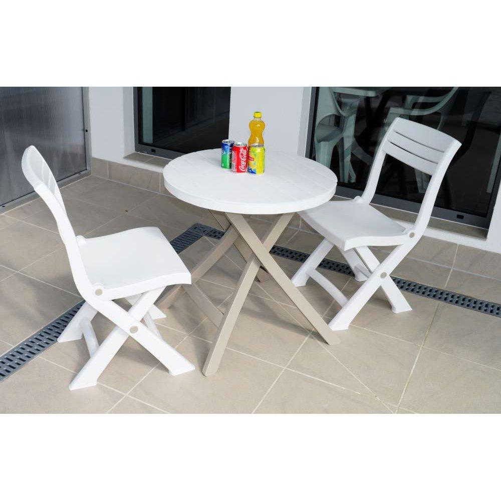 JUSThome Bistro Gartenmöbel Sitzgruppe Gartengarnitur Set 2x Stuhl + Tisch Taupe Weiß