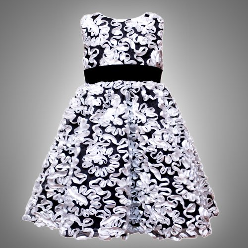 Size-3T RRE-48361H BLACK WHITE BONAZ RIBBON SHEER OVERLAY VELVET TRIM Special Occasion Wedding Flower Girl Party Dress,H248361 Rare Editions TODDLERS