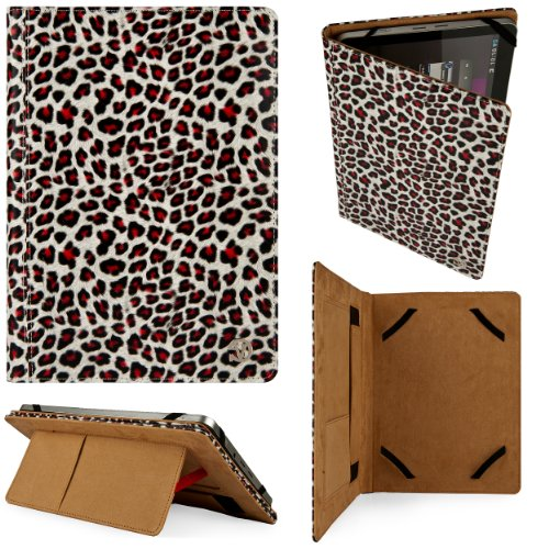 Black & Gold Leopard Design Vg Faux Leather Standing Portfolio Case Cover For Aluratek At197F 9.7 Inch Tablet / Aluratek At110F Cinepad 10 Inch Android Tablet front-1007167