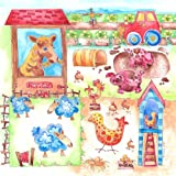 Canvas print,Farmyard Friends, personalised gift.by Tiger Lily prints