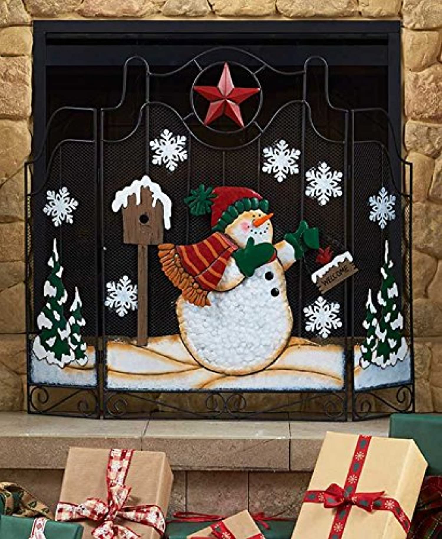 Fireplace Holiday Screen Christmas Snowman And Santa Decor