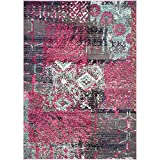 "Safavieh Monaco Collection MNC210D Pink and Multicolored Area Rug, 6 feet 7 inches by 9 feet 2 inches (6'7"" x 9'2"")"