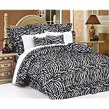 7Pcs Queen Zebra Animal Kingdom Bedding Comforter Set